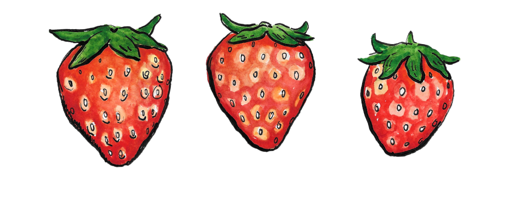 An illustration showing three strawberries.